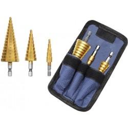 Stakliu gręžimo komplektas iš 3 plieno lakštinio metalo ir metalinio korpuso 4-32 mm kugio gręžimo 6661