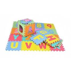 FOAM PUZZLE • raides ir numeriai • malonu paliesti • saugiai • lengva valyti • padeda mokytis raidemis, vystosi koncentracijos i