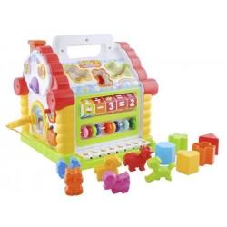 SORTER • INTERACTIVE HOUSE WITH PIANO • Žaislas, kuriantis rankinius ir muzikinius igudžius • Spalvoti blokai rinkinyje • Imontu
