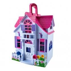 Dollhouse Folding 6 kambario baldai figureles šeima su šunu žaislu nešiojamas 6079