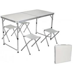 Sulankstomas turistinis stalas su sulankstomom 4 kėdutėm