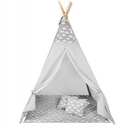 Vaiku žaidimu namelio palapiniu Teepee Lodge langu pagalves pilkos spalvos debesys 8702