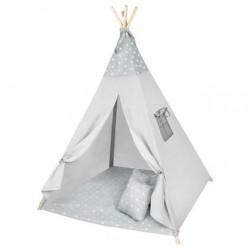 Vaiku žaidimu namelio palapiniu Teepee Wigwam langu pagalves, pilkos žvaigždes 8703