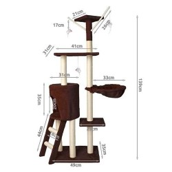 Medžio bokštas katei 138 cm dydžio skrebintojo rudos peles namas 7929