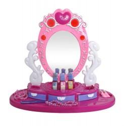 Tualetinis staliukas 1 veidrodžiu komplektas su priedais Stalo versija maža grožio studija 8674