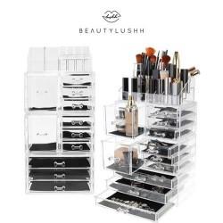 Akrilo kosmetikos laikymo organizatorius su 4 lygiais ir 9 stalčiais 14x24x39,5 cm 9113