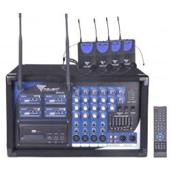 Mik0125 Mikrofonas Pa-180 4 Uhf Kanalų (4 Mikrofonai, Ausinės)