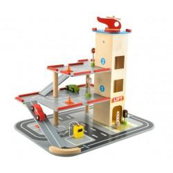 Stovejimo garažas Automobiliai Sraigtasparniai Mediniai žaislai Multistory Lift Lacquered Safe 6526
