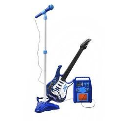 GUITAR + AMPLIFIER + MIKROFONAS • melynas • 6 metalo stygos • MP3 jungtis • garsumo valdymas • mikrofonas - funkcija ON / OFF •