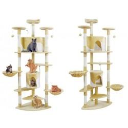 Kačiu kačiukai, subraižantys medi, vamzdelis, linksmas gyvunu namu grandiklis, 200cm pilkai baltas / juodai baltas / rudai balta