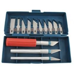 Skalunai • MODELIAVIMO PADANGOS • KIT • 13 skirtingu formu peiliuku • magnetines juostos deklai • 3 rankenos • labai aštrus • 3
