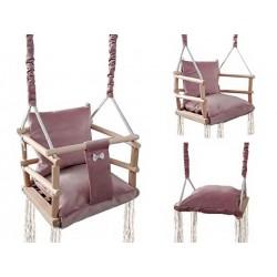 """""""Baby Swing"""" kudikio sedynes audinio medinis lubinis pakaba 3in1 pilkai rožinis 8336"""