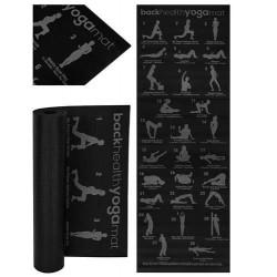 """Jogos fitneso kilimelis su """"Pilates Fitness & Gymnastics"""" neslidžios juodos spalvos 173x61cm 8693 treniruočiu planu"""