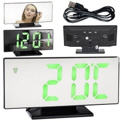 Juodas veidrodinis LED su žaliais skaičiais ir žadintuvas