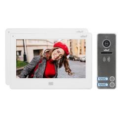 """Zestaw wideodomofonowy 2-rodzinny, bezsłuchawkowy kolor, LCD 7"""", dotykowy, menu OSD, pamięć, gniazdo na kartę SD, DVR, sterowani"""