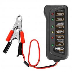 Akumuliatoriaus įkrovos ir įkrovimo testeris 12 V - skaitmeninis šviesos diodas