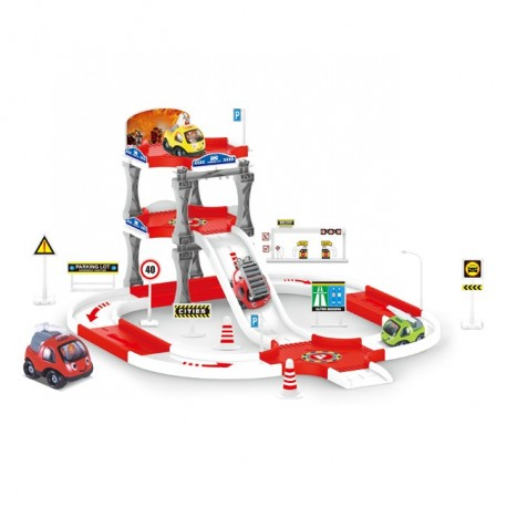 Žaislinis ugniagesių mašinų ir parkingo rinkinys OC109