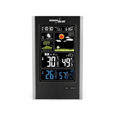 """DCF belaidė meteorologinė stotis, slėgis, mėnulio fazės, """"GreenBlue GB520"""" juodas USB įkroviklis"""